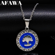 Fashion Round Blue Tree of Life Stainless Steel Necklaces Pendants Women Silver Color Necklace Jewelry collar hombre N176197