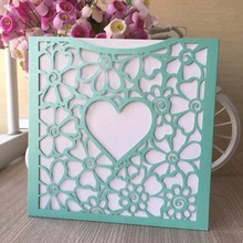 50pcs Laser Cut Pearl Paper Lace Love Heart Design Wedding Inviting Card Paper Party Event Decoration Pocket Design(China)
