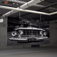 Vintage Black White Usa Auto Oldtimer Pkw Retro Car Canvas Poster Print Art Modern Home Decor Painting, Wall Pictures Wall Decor