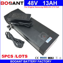 BOOANT Wholesale 5pcs/Lot Free Shipping 48V 13AH E-Bike Battery pack 13S 5P Electric Bicycle Battery 48V 1000W with 2A Charger(China)