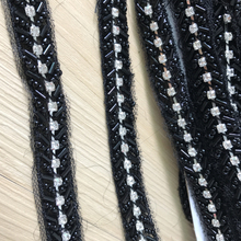 Black/Silver Rhinestone Mesh Beaded Trim For Jewelry Headpiece DIY Dress Lace Belt New Arrival 2 Colors(China)