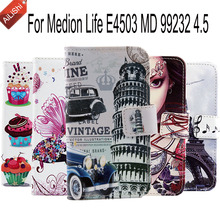 Fashion Cartoon PU Painted Cover Skin For Medion Life E4503 MD 99232 4.5 Flip Cute Leather Case With Card Slot Accessory