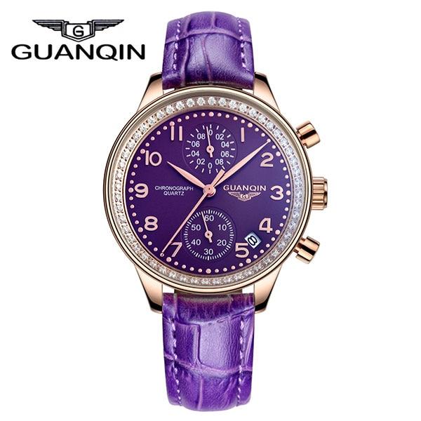 GUANQIN GQ15008 lady Chronograph Top Brand Luxury Women Dress Watches Chronograph Date Genuine Leather Quartz Women Rhinestones<br><br>Aliexpress