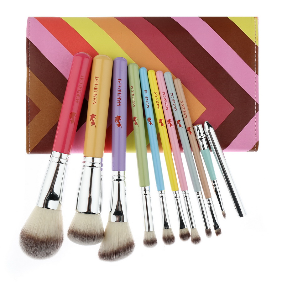 Makeup Cat 10pcs Professional Rainbow Makeup Brush Set Synthetic Hair With PU Leather Case Rainbow Make Up Brushes<br>