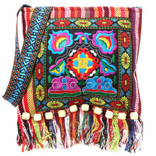 Linen Chinese Women Hmong Thai Embroidery Hill Tribe Totes Messenger Shoulder Tassels National Bag Boho Hippie Soft Bags Floral(China)