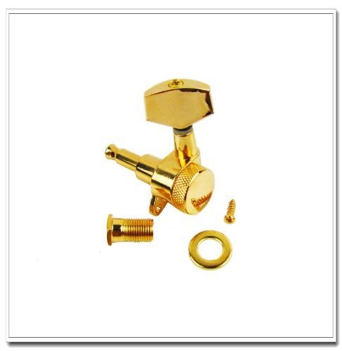 Set of 3L3R Big Button Locking Guitar Tuning Pegs Tuners Machine Head Gold<br>