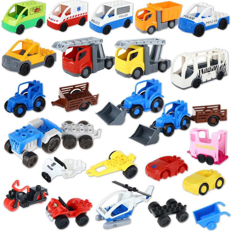 Big Building Blocks Accessory Bulk Bricks Bus Police Car Jeep Pirate Boat Helicopter Car Compatible Baby DIY Toys<br><br>Aliexpress