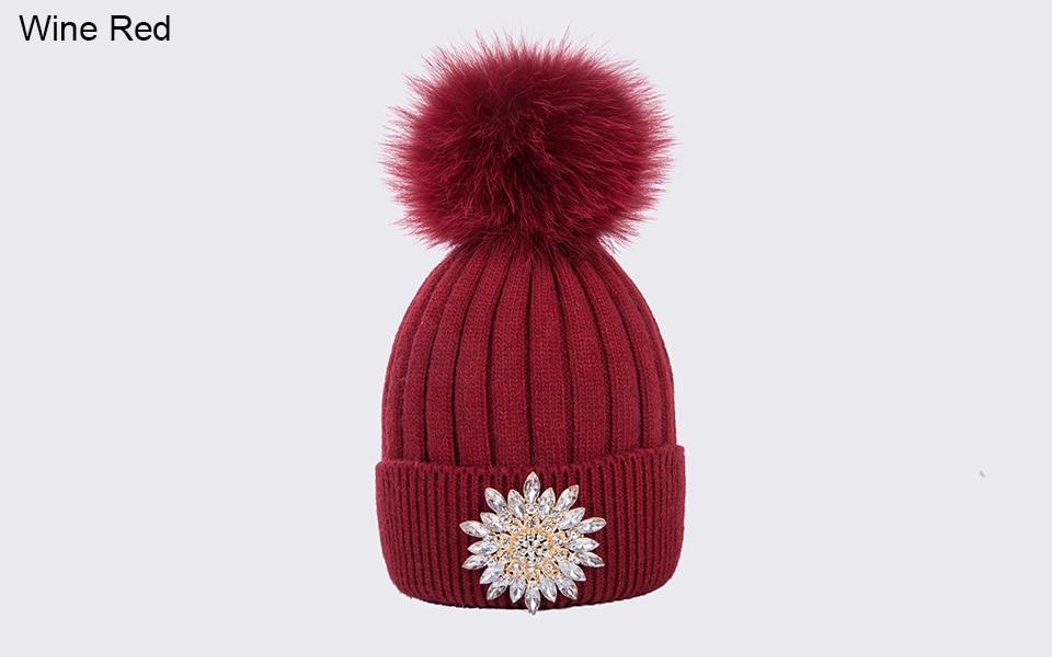 Ralferty Women's Real Fox Pompom Hat Knitted Rabbit Skullies Winter Hats For Women Big Flower Crystal Beanies Black Cap bonnet 9