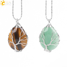 CSJA Gold Color Tree of Life Wire Wrap Water Drop Necklace Pendant Natural Gem Stone Pink Quartz Tiger Eye Green Aventurine E585(China)