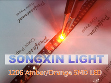 100pcs Orange/Amber 1206 SMD SMT Super bright LED lamp light High Quality New 600-610nm 200-300mcd 2.0-2.6v smd 1206 led diodes