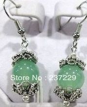 Wholesale price FREE SHIPPING ^^^^Beautiful TIBET SILVERED GREEN stone EARRINGS(China)