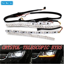 Tak Wai Lee 2X Flexible Crystal Telescopic Eyes Flow Meteor LED Steering Lamp DRL Daytime Running Light Strip Car Fog Headlight(China)