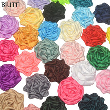 120pcs/lot 1.8'' Soft Satin Ruched Rolled Rosettes Flower Puffy Fabric Flora Wedding Bouquet Kids Headband Decor TH247(China)