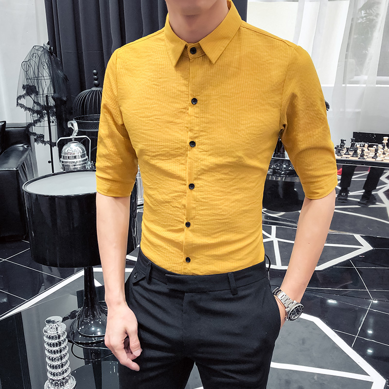2019 summer male striped sleeve shirt youth Korean version of the self-cultivation trend flower was thin five-point sleeve shirt
