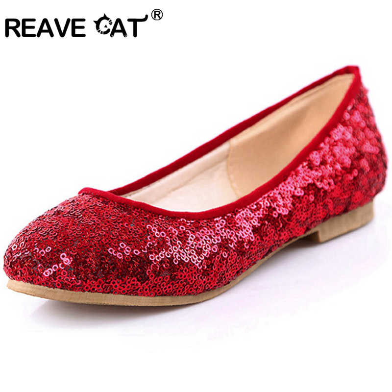 REAVE CAT Fashion Spring summer Women shoes Flats Glitter Square heels  Polka dot Red Yellow White dbb20832b40a
