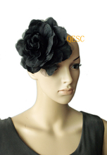 FREE SHIPPING.16cm silk flower for millinery/sinamay hat/church hat/fascinator,with brooch pin hair clip,black color
