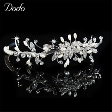 Unique Design Shine Simulated Pearl Hair Accessories Austrian Crystal Women Wedding Fashion Prom Jewelry Tiaras Bridal Crown 50(China)