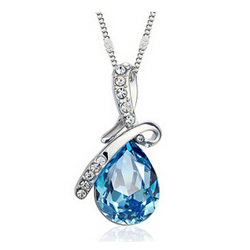 Fashion Blue Austrian Crystal Necklace Water Drop Pendant Necklace Women Birthday Best Friend Gift Jewelry Wholesale x331