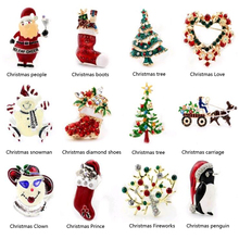New Year Fashion Christmas boots brooch Santa Claus shoes carriage Rhinestone Brooch Jewelry for / Christmas color stone brooch