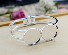 High Quality  20mm Silver Plated Bangle Base Bracelet Blank Findings Tray Bezel Setting Cabochon Cameo  (L6-09)