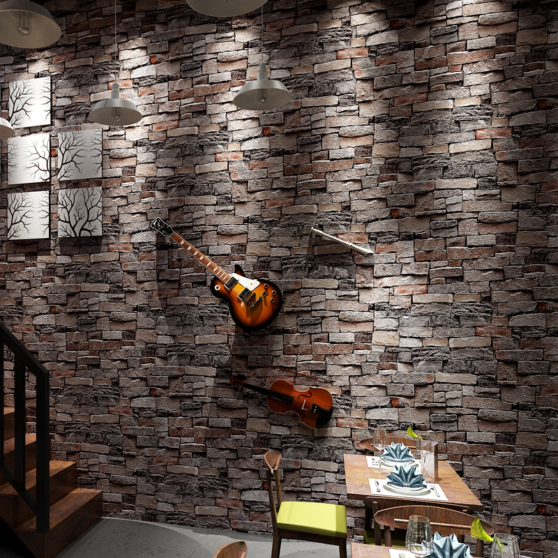 New Vintage PVC Waterproof Brick Pattern Hair salon Wall papers Roll Chinese White Brown Gray Wallpaer  For Walls 3 d Home Decor<br>