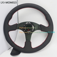 Free Shipping:LYJ-MOM015 Flat Style Leather Modified Car Steering Wheel
