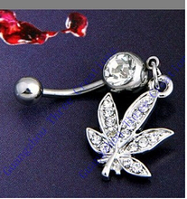 wholesale 10PCS  White  Rasta Pot Leaf Jamaican Gem 316L Stainless Steel Belly Ring Navel Ring Body Piercing Jewelry