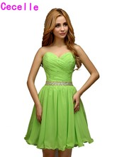 Real A-line Mini Beaded Chiffon Bright Green Girls 2017 Cocktail Dresses For Juniors Sweetheart Cute Informal Robe De Cocktail