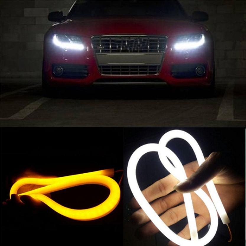 Cls  2X 60CM Flexible Tube Guide Car LED Strip White DRL Amber Turn Signal Light DIY Sep 05<br><br>Aliexpress