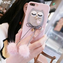 Buy TANZ NEW Bling Diamonds Diamonds Owl Fur Ball Case Plush Pendant Phone Case Iphone 6 6s 7 8 plus 8plus Luxury Back Cover Bag for $5.04 in AliExpress store