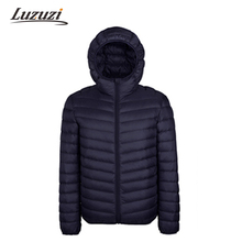 2017 Winter Men Cotton Mens Hooded Clothes Outwear Warm Ultra Light Thin Parkas Coats Black Plus Size Spring WS111