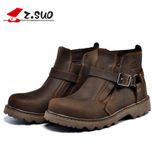 Z. Suo Z.Suo 2017 Best Quality Genuine Leather Men Boots Buckle Strap Fashion Ridding Ankle Cowboy Boots ZS337