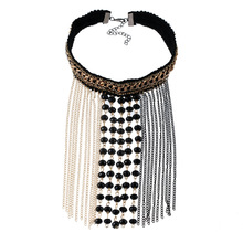 Bohemian Black Lace Maxi Tassel  Necklace Crochet Beads Necklaces Pendants Women Jewelry For Gift