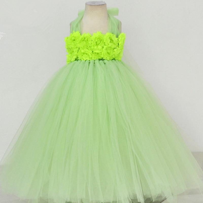 Light Green Flower Tutu Dress Girl Tulle Princess Dress Kids Festival Birthday Party Ball Gown Wedding Flower Girl Dresses <br>