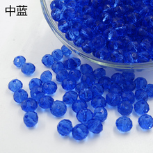 Glass Beads 8mm Charms Bracelets Necklaces Crystal Bead Circle Wheel Faceted DIY Shiny Blue Jewelry Components & Findings 2 sets(China)