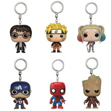 Marvel Super Hero Harley Quinn Deadpool Harry Potter Goku Spiderman Joker Game of Thrones Action Figures Toy Keychain