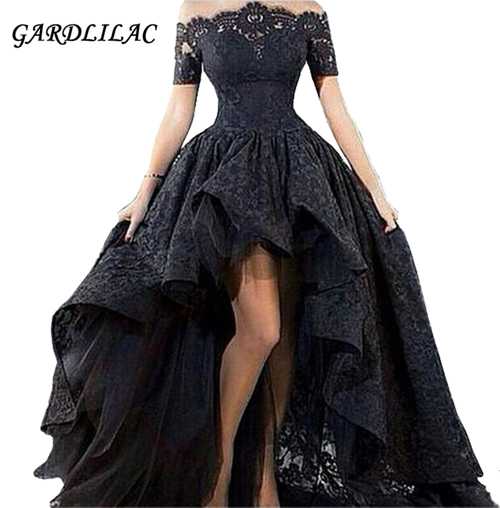 New Off the Shoulder Hi-Lo Prom Dress Lace Short Sleeve Evening dress 2019 High Low Mother Wedding Party Gown Maxi Dress(China)