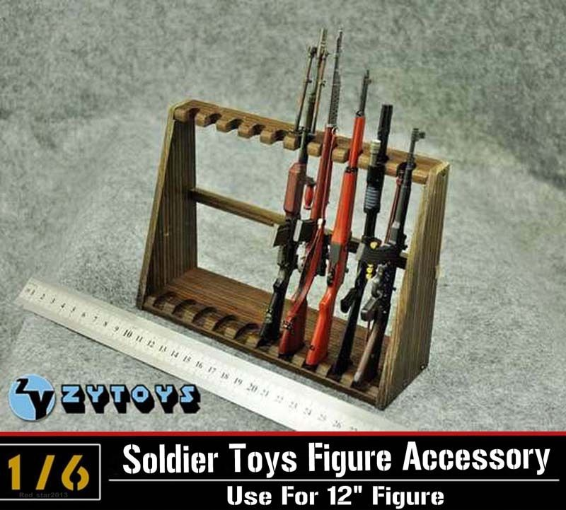 ZYToys 1/6 Scale Hot Figures Accessory Long Wooden Submachine Gun Display Stand Holder Show For 12 Action Figure Toys Parts C<br><br>Aliexpress