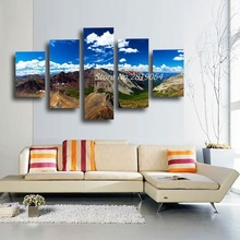5 Panel Modern Spray Paintings Nature Scenery HD Pictures No Frame Canvas Art Blue Sky Paintings for Home Wall Decoracion