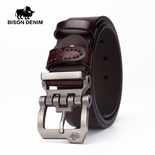 BISON DENIM genuine leather belt for men gift designer belts men's high quality Cowskin Personality buckle,Vintage jeans N71223(China)