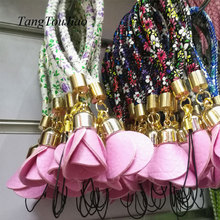 Wrist Hand Cell Phone Leather Floral Chain Straps Camera Universal Straps Keychain Hang Rope Lariat Lanyard MP3 U Flash Disk