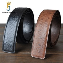 FAJARINA High-end Men's male Ostrich Pattern Smooth Strip Pure Cowhide Leather Belt 3.8cm Belts without Buckle Parts N17FJ261