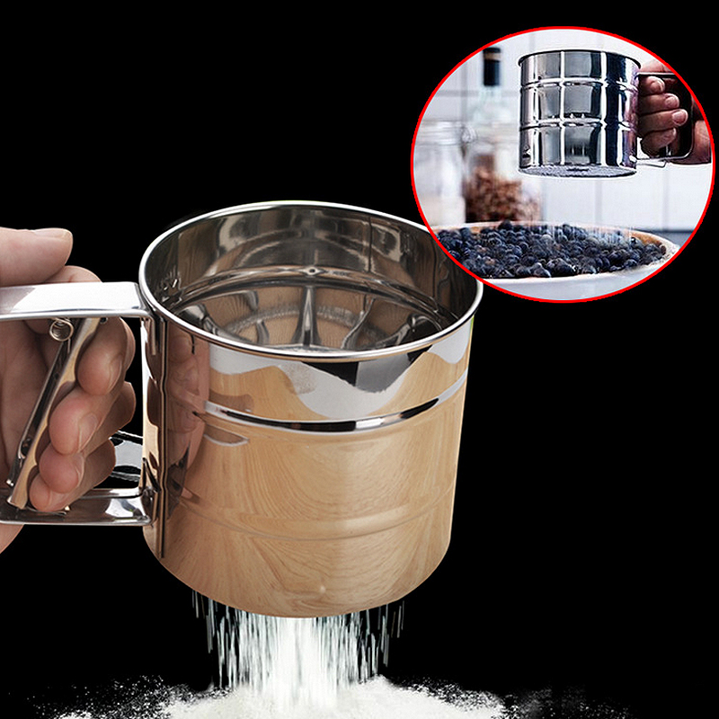 1 pcs Cup Shape Flour Sieve Stainless Steel Mesh Flour Sifter Mechanical Baking Icing Sugar Shaker Sieve Tool(China (Mainland))