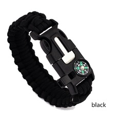 Multifuctional Outdoor Survival Bracelets For Men Parachute Rope Flint Whistle Compass Thermometer Travel Emergency Bracelets