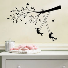 Girl And Boy Swing On The Tree Wall Stickers Vinyl Decal Kid Nursery Room Decor(China)