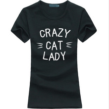 Buy CRAZY CAT LADY Print Women T-shirt Cotton Funny harajuku tee Shirt femme 2016 summer fashion brand korean punk slim kawaii tops for $4.37 in AliExpress store