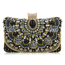 New Fashion Women Luxury Evening Bags Wedding Clutch Purse Sisters Party Bag Diamonds Silver Gold Black Good Quality Bag Sg140(China)