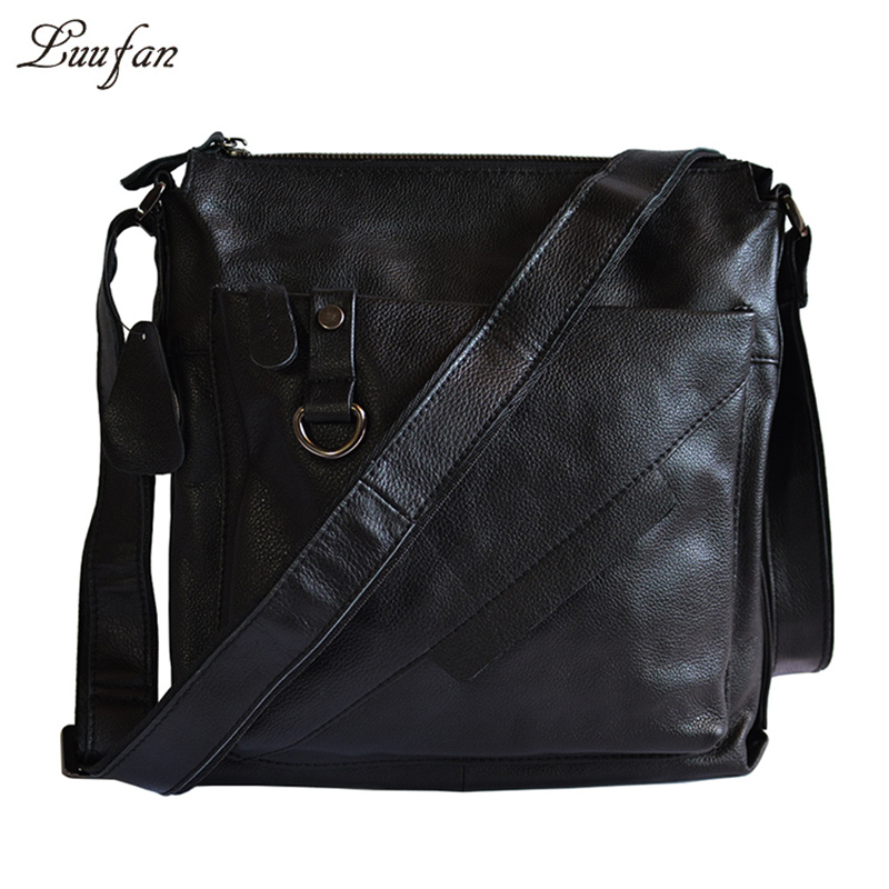 Mens genuine leather shoulder bag Black cow leather crossbody bag Real Leather messenger bag for iPad,book casual leather bag<br><br>Aliexpress