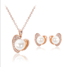 Eccosa Creative Jewellery Sets Simulated Pearls In Love Heart Crystal Pave Mussel Necklace & Earrings Inspiration Women Jewelry
