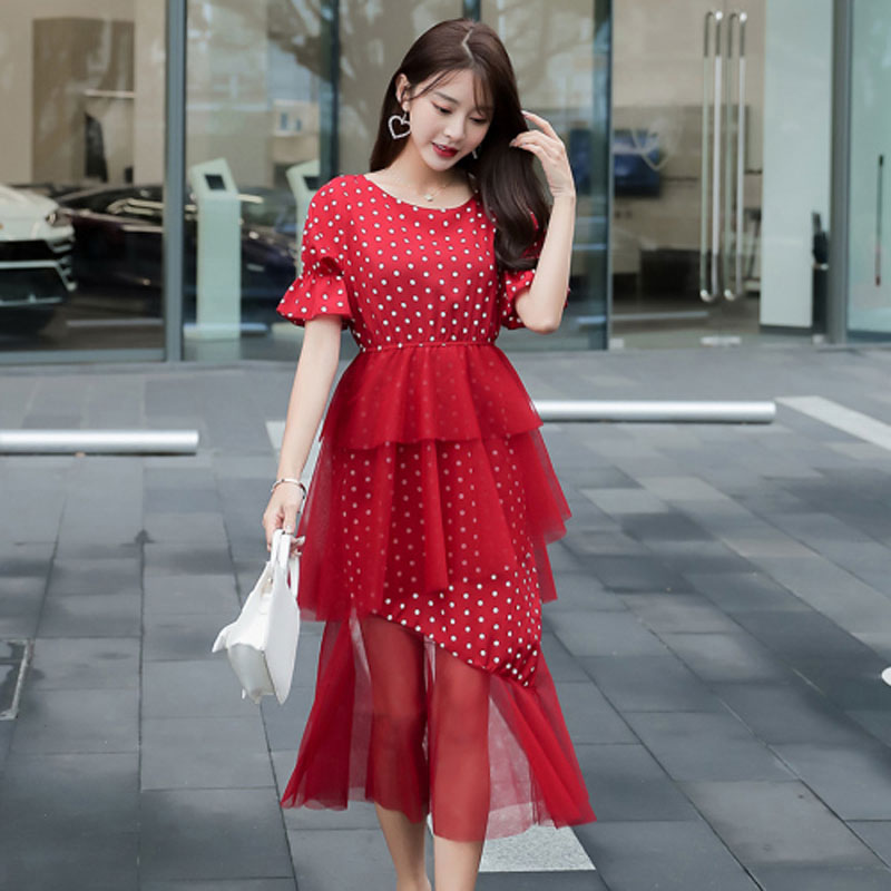 2019 summer dress women dot O-neck flare sleeve ruffles chiffon stitching mesh irregular dress female elegant dresses